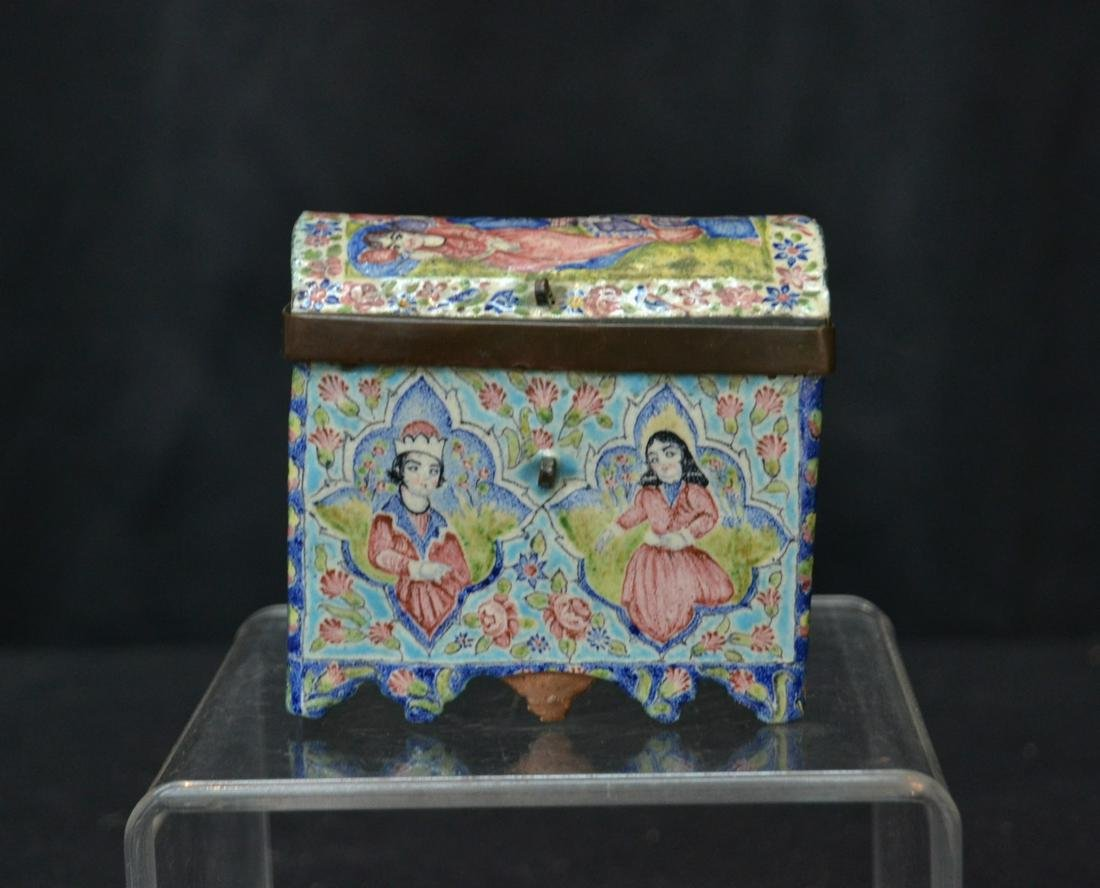 ANTIQUE PERSIAN ENAMEL BOX