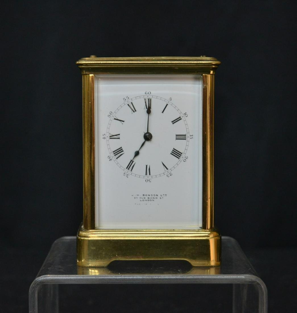 J.W. BENSON BRONZE & CRYSTAL CARRIAGE CLOCK
