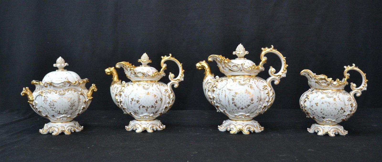 (4) OLD PARIS PORCELAIN TEA SET CONSISTING