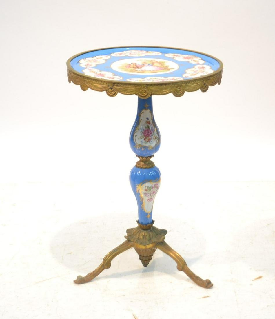 SEVRES STYLE PORCELAIN & BRONZE SIDE TABLE