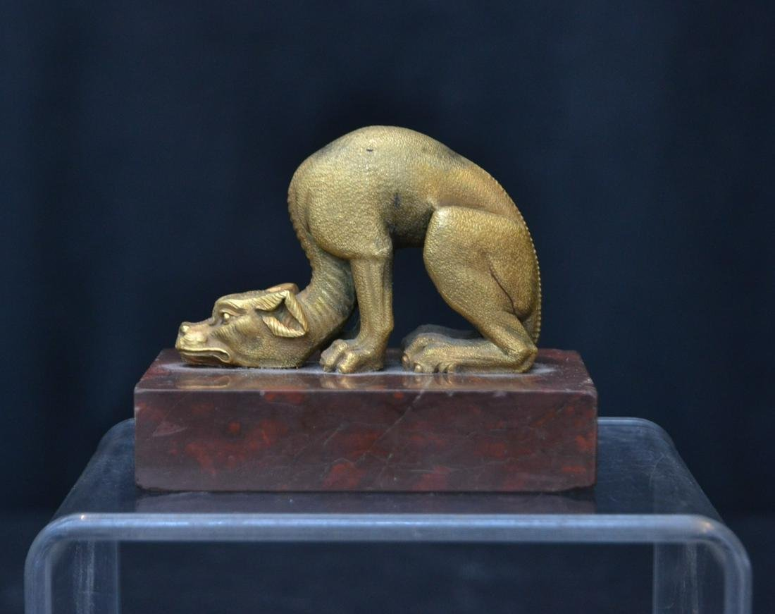 RUSSIAN ? BRONZE SEATED DOG ON MARBLE BASE