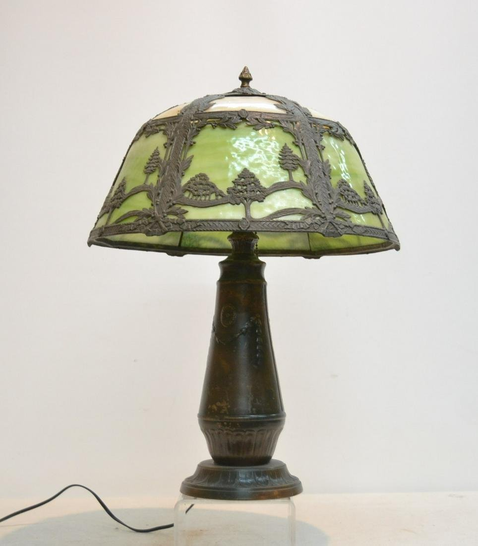 2-TONE SLAG GLASS TABLE LAMP WITH
