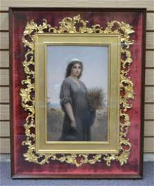 "LARGE HAND PAINTED KPM PORCELAIN PLAQUE OF ""RUTH"""