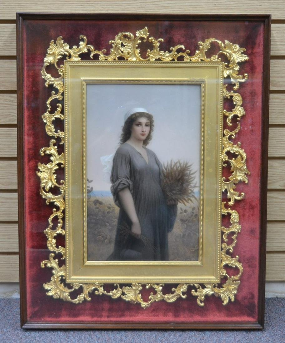 """LARGE HAND PAINTED KPM PORCELAIN PLAQUE OF """"RUTH"""""""