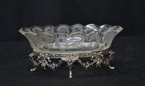 ANTIQUE CONTINENTAL SILVER & ETCHED CRYSTAL