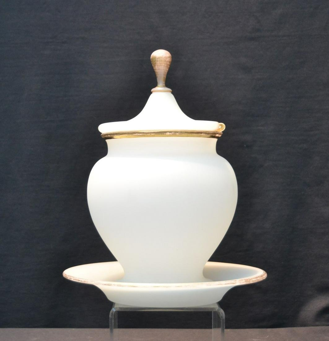 OPALINE PUNCH BOWL WITH UNDERPLATE