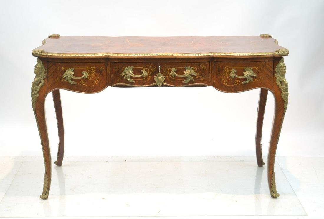 FRENCH STYLE INLAID BUREAU PLAT DESK WITH