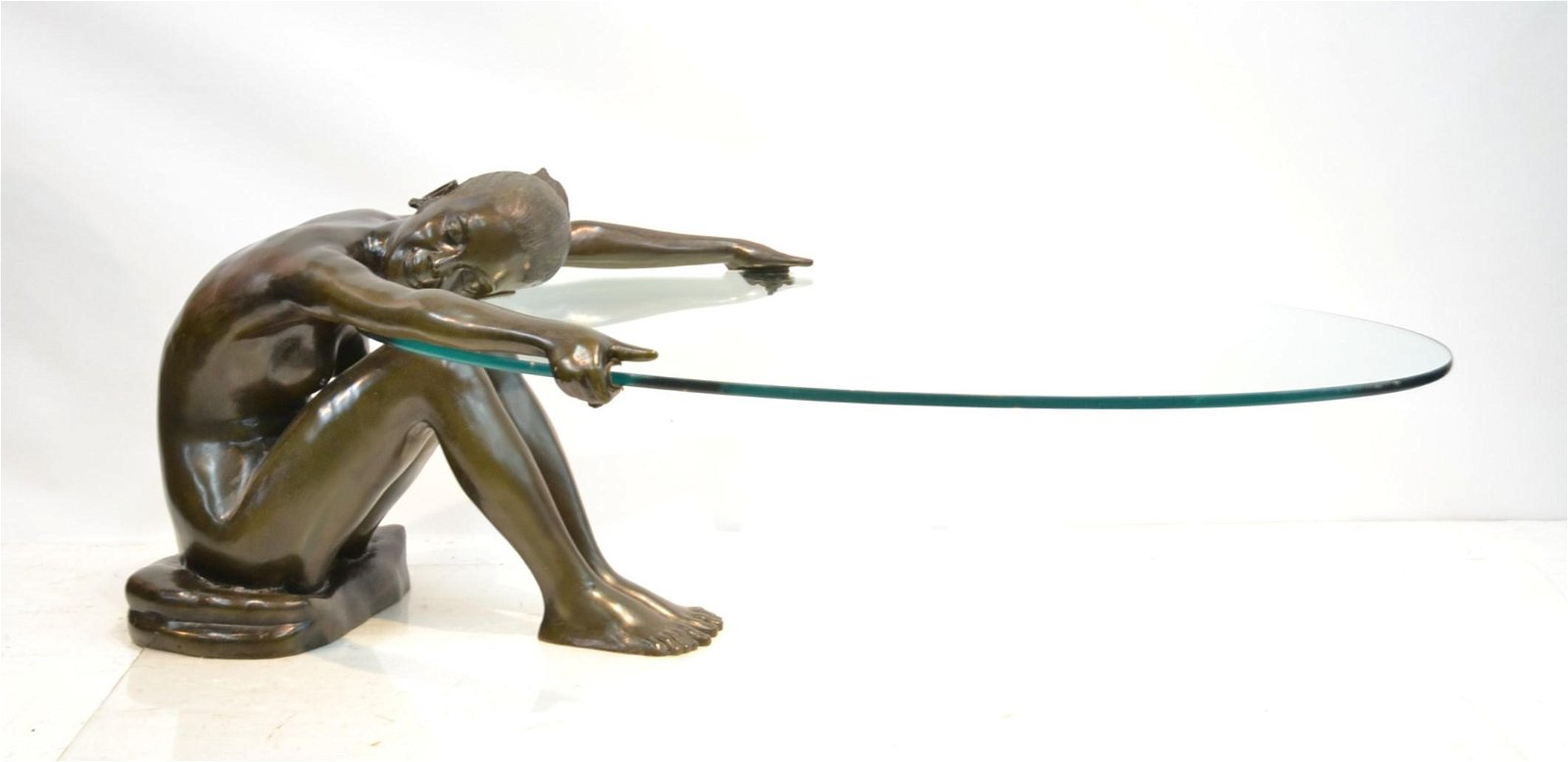 LARGE BRONZE FIGURAL COFFEE TABLE