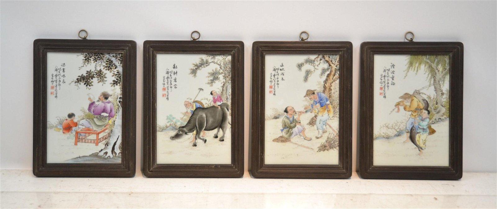 WANG QI (1884-1937) (4) CHINESE PORCELAIN PLAQUES