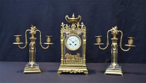 (3)pc FRENCH EMPIRE BRONZE & CRYSTAL CLOCK SET