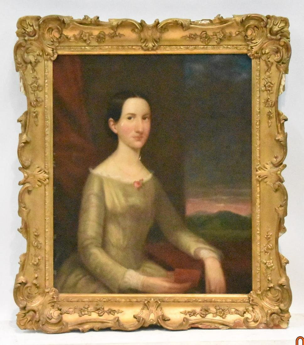 19thC OIL ON BOARD PORTRAIT OF SEATED LADY