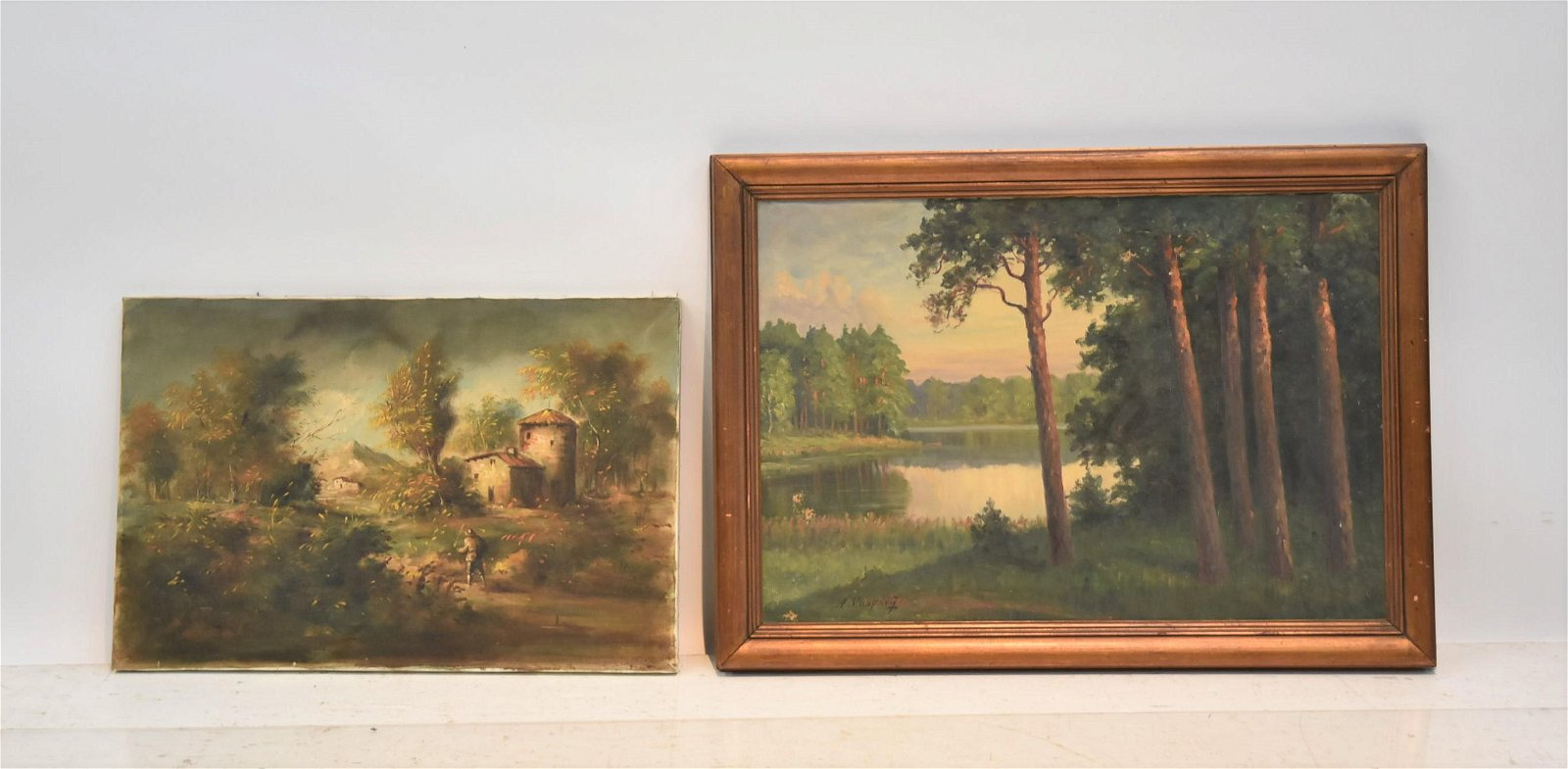 (2) OIL ON CANVAS WOODED LANDSCAPE PAINTINGS