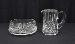 WATERFORD CRYSTAL PITCHER & WATERFORD BOWL