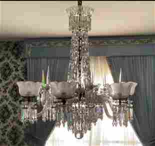 LARGE ANTIQUE CUT CRYSTAL GAS CHANDELIER