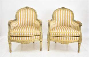 (Pr) ANTIQUE FRENCH LXVI STYLE BERGERE CHAIRS
