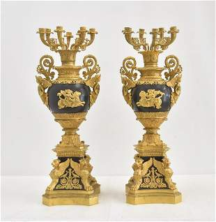 (Pr) LARGE FRENCH EMPIRE STYLE CANDELABRAS