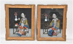 (Pr) CHINESE REVERSE PAINTINGS OF SEATED WOMEN