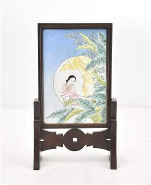 CHINESE ENAMEL PLAQUE ON ROSEWOOD STAND