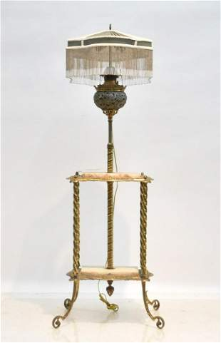 BRADLEY & HUBBARD BRONZE & ONYX PIANO FLOOR LAMP