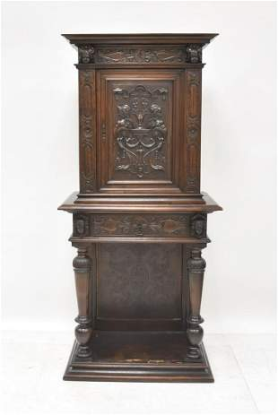 19thC FRENCH CARVED OAK CABINET