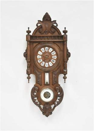FRENCH CARVED WALNUT WALL CLOCK - BAROMETER