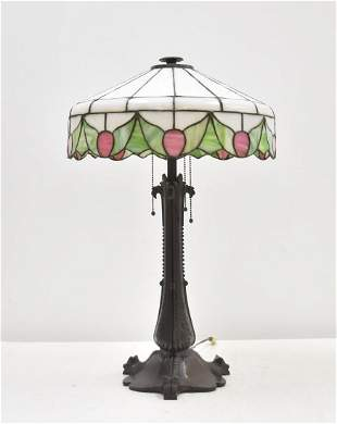 ATTR. BRADLEY & HUBBARD LEADED GLASS TABLE LAMP