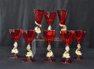 (8) VENETIAN GLASS STEMWARE