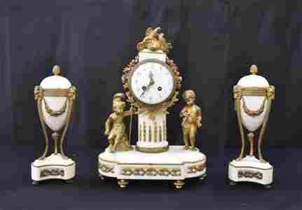 (3)pc FRENCH BRONZE & MARBLE CLOCK SET