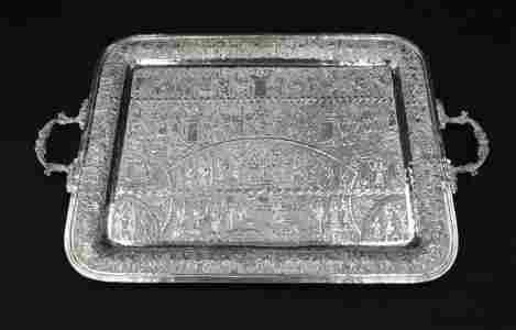 LARGE PERSIAN SILVER TWIN HANDLE TRAY