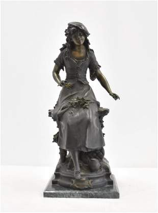 AFTER AUGUSTE MOREAU , BRONZE GIRL WITH FLOWERS