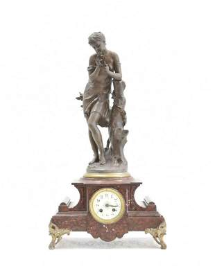 FRENCH ROUGE MARBLE FIGURAL CLOCK