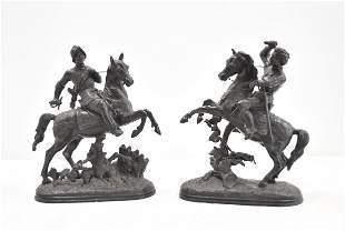 (Pr) WHITE METAL FIGURES OF SOLDIERS ON HORSEBACK