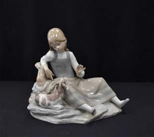 LLADRO SEATED GIRL WITH DEER