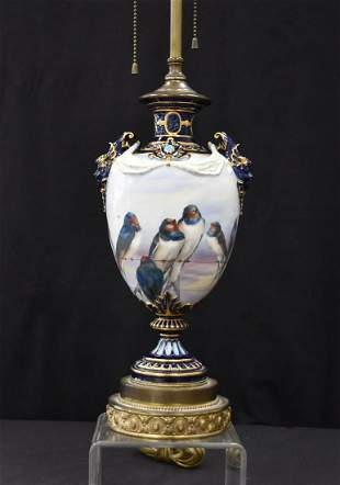 HAND PAINTED FRENCH ? BIRD LAMP WITH JEWELS