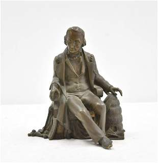 BRONZE SCULPTURE OF SEATED JAQUART