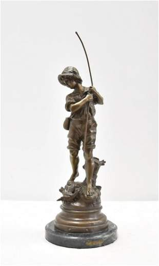 AFTER AUGUSTE MOREAU , BRONZE BOY WITH FISHING ROD