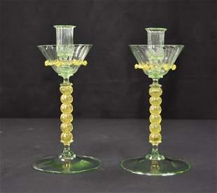 (Pr) 2-TONE VENETIAN GLASS CANDLESTICKS