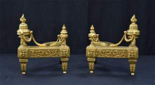 (Pr) FRENCH DORE BRONZE FIREPLACE CHENETS