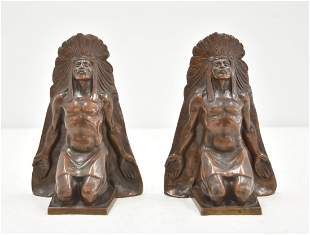BRONZE NATIVE AMERICAN INDIAN CHIEF BOOKENDS