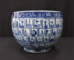 LARGE CHINESE BLUE & WHITE PLANTER WITH FACES