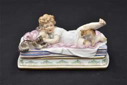 RARE MEISSEN PORCELAIN GIRL & CAT GROUPING