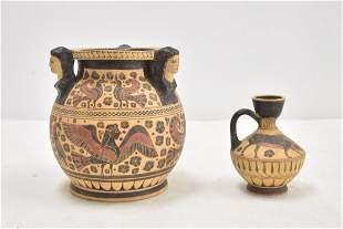 (2) ANCIENT GREEK STYLE TERRACOTTA URN & VASE
