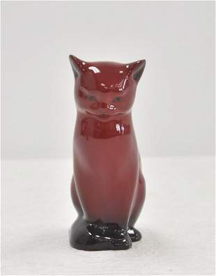 ROYAL DOULTON RED FLAMBE # 9 SEATED CAT