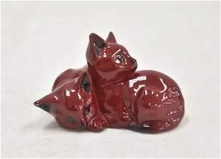 FLAMBE ROYAL DOULTON PAIR OF CATS