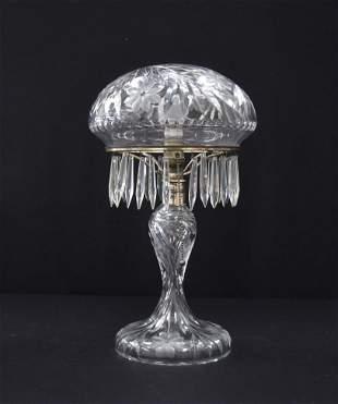 ANTIQUE BRILLIANT CUT GLASS PARLOR LAMP