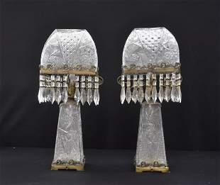 (Pr) LARGE CUT GLASS LAMPS