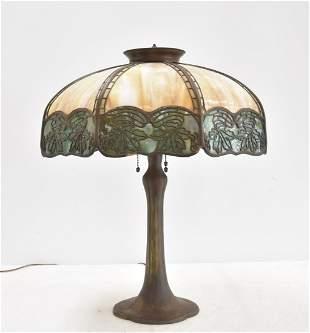 MULTI COLOR FILIGREE BENT SLAG GLASS TABLE LAMP
