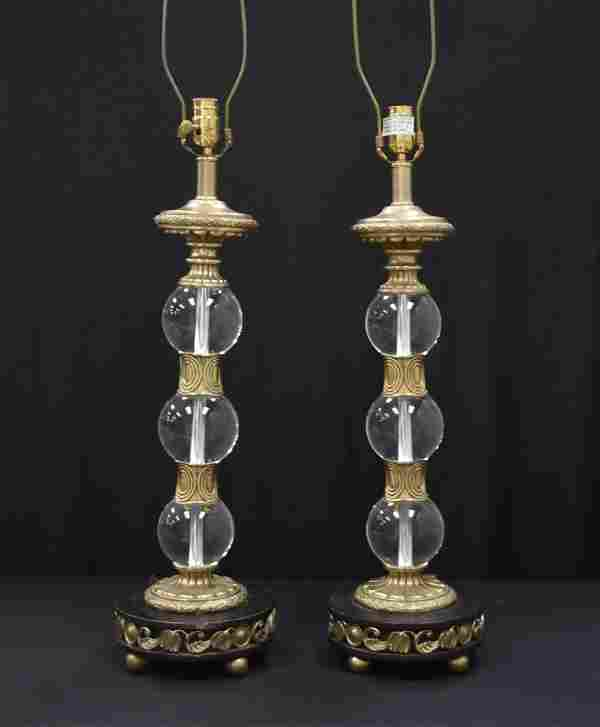 (Pr) MAITLAND SMITH LUCITE & METAL LAMPS