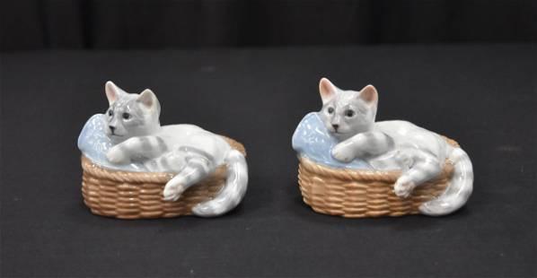(2) ROYAL COPENHAGEN PORCELAIN CATS IN BASKET