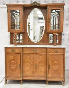 INLAID FRENCH MARBLE TOP HUTCH